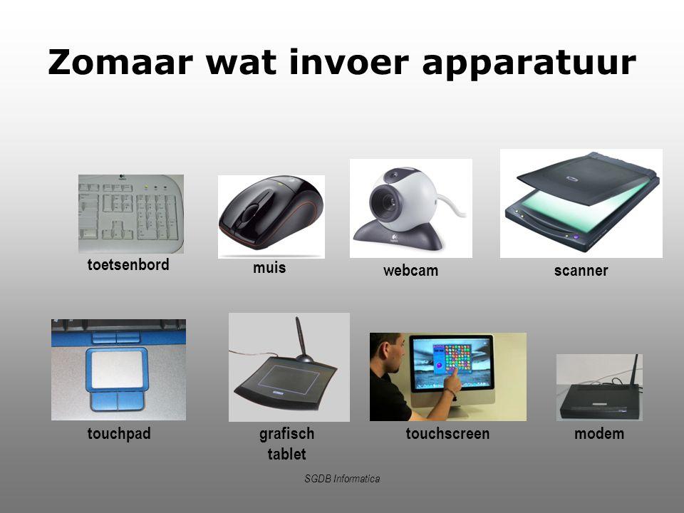 SGDB Informatica Zomaar wat invoer apparatuur toetsenbord scanner muis webcam touchpad grafisch tablet touchscreen modem