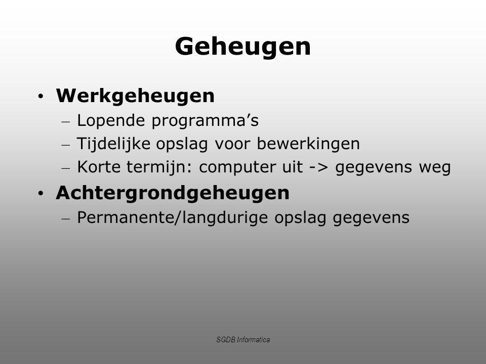 SGDB Informatica Geheugen Werkgeheugen – Lopende programma's – Tijdelijke opslag voor bewerkingen – Korte termijn: computer uit -> gegevens weg Achter