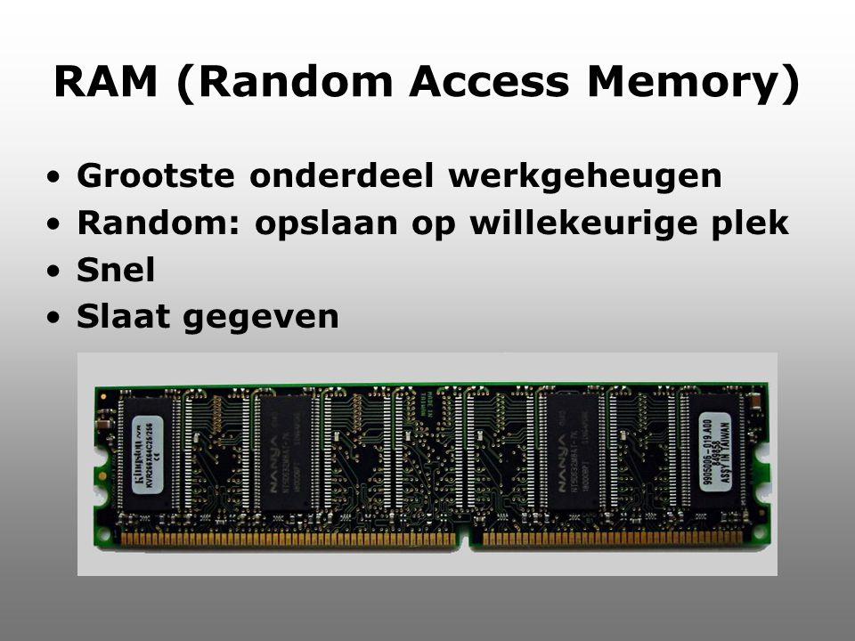 RAM (Random Access Memory) Grootste onderdeel werkgeheugen Random: opslaan op willekeurige plek Snel Slaat gegeven