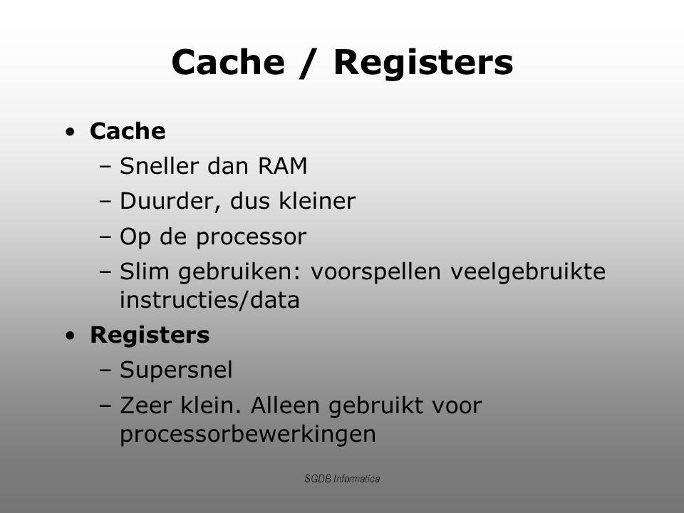 SGDB Informatica Cache / Registers Cache –Sneller dan RAM –Duurder, dus kleiner –Op de processor –Slim gebruiken: voorspellen veelgebruikte instructie