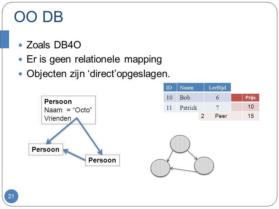 """OO DB Zoals DB4O Er is geen relationele mapping Objecten zijn 'direct'opgeslagen. 21 Persoon Naam = """"Octo"""" Vrienden Persoon IDNaamPrijs 1Appel10 2Peer"""