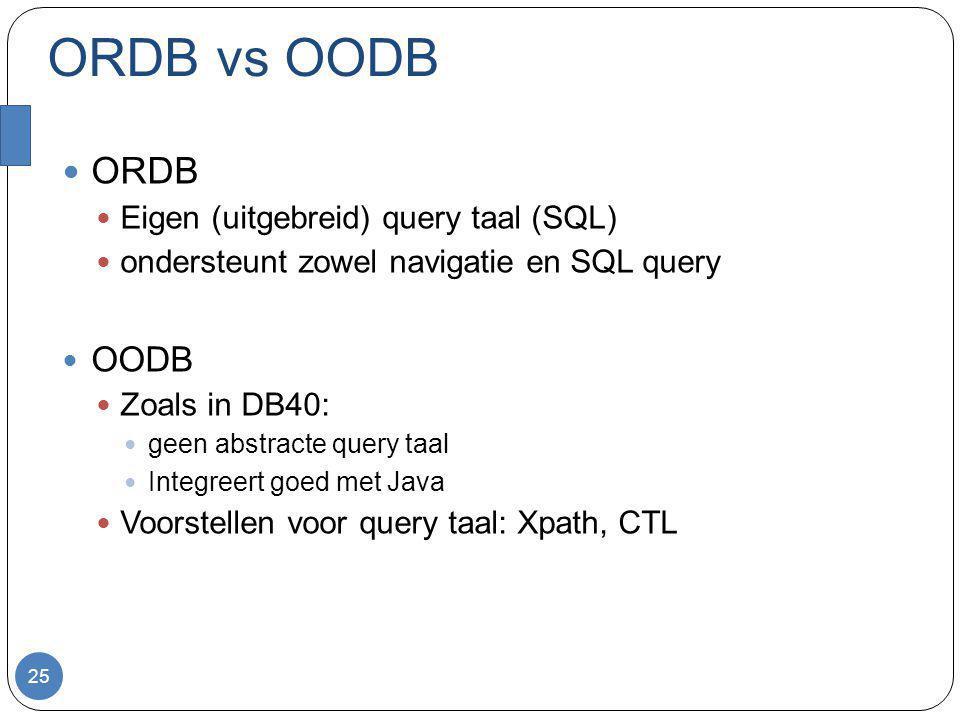 ORDB vs OODB ORDB Eigen (uitgebreid) query taal (SQL) ondersteunt zowel navigatie en SQL query OODB Zoals in DB40: geen abstracte query taal Integreert goed met Java Voorstellen voor query taal: Xpath, CTL 25