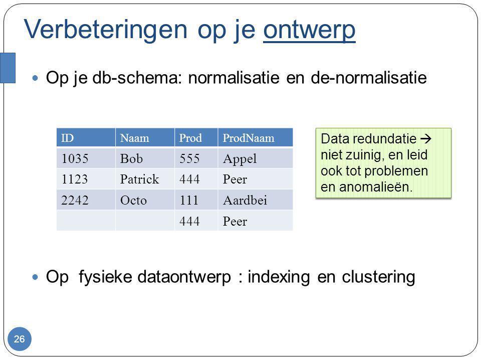 Verbeteringen op je ontwerp Op je db-schema: normalisatie en de-normalisatie Op fysieke dataontwerp : indexing en clustering 26 IDNaamProdProdNaam 103