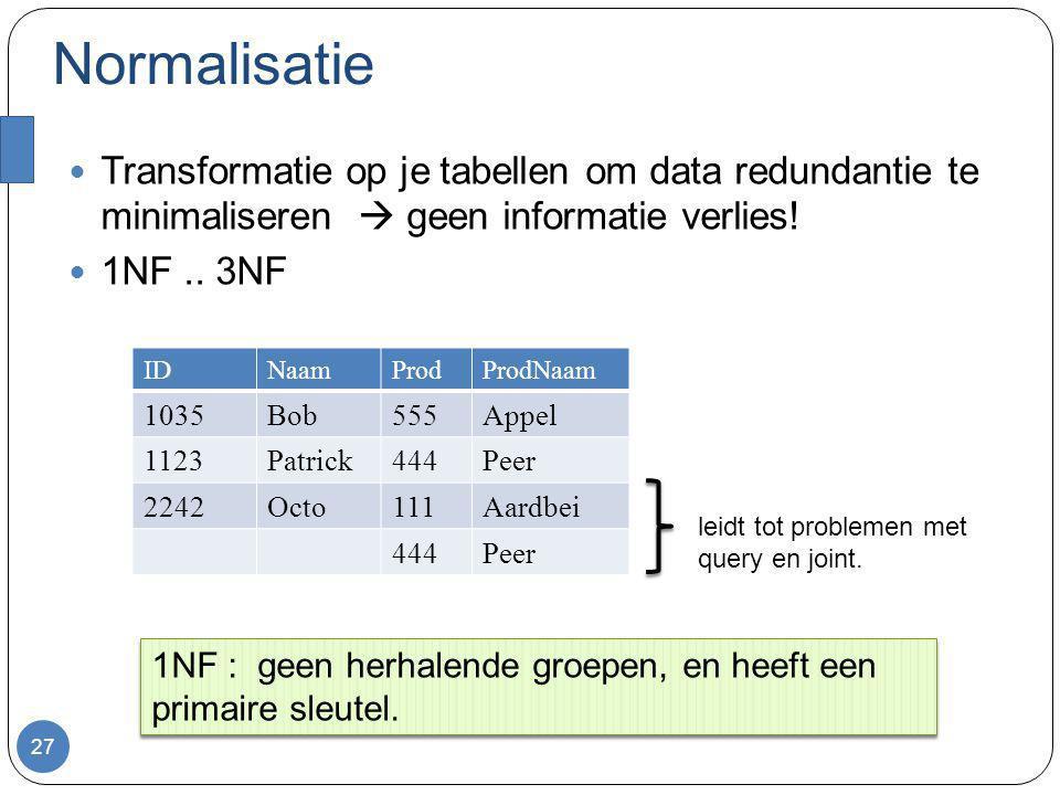 Normalisatie Transformatie op je tabellen om data redundantie te minimaliseren  geen informatie verlies! 1NF.. 3NF 27 IDNaamProdProdNaam 1035Bob555Ap