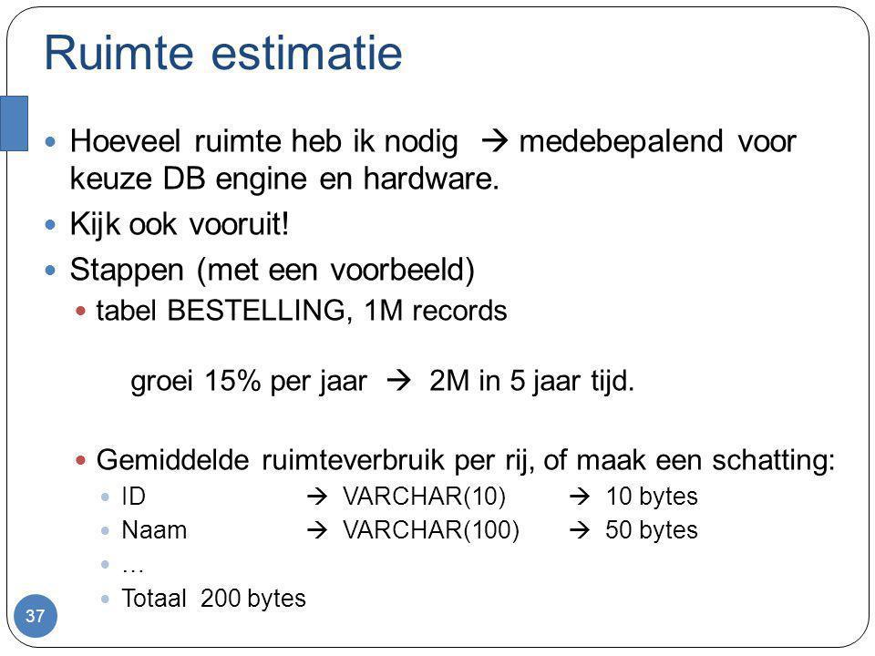 Ruimte estimatie Totaal voor tabel BESTELLING 200 * 2M bytes Bereken ruimte overhead van indextabellen Stel ID, en Postcode als indexen In de orde van d*2M per indextabel Andere overhead  DB engine specifiek Doe dit voor de rest van tabellen.