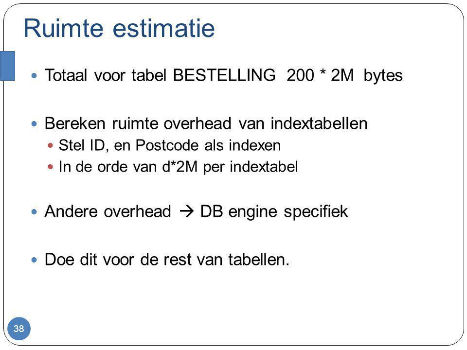 Ruimte estimatie Totaal voor tabel BESTELLING 200 * 2M bytes Bereken ruimte overhead van indextabellen Stel ID, en Postcode als indexen In de orde van