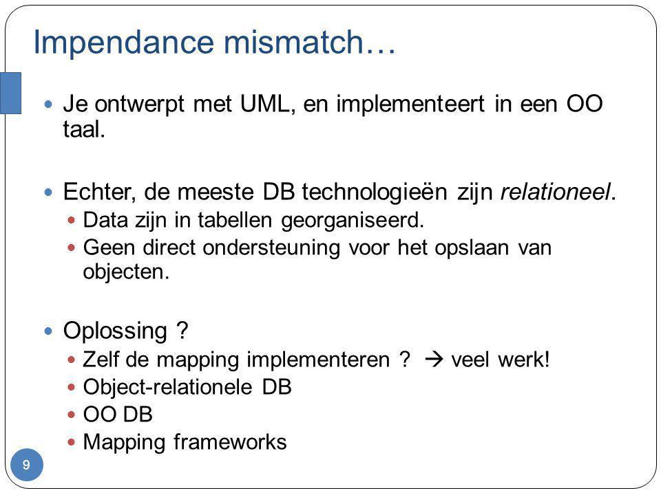 Impendance mismatch… 9 Je ontwerpt met UML, en implementeert in een OO taal. Echter, de meeste DB technologieën zijn relationeel. Data zijn in tabelle