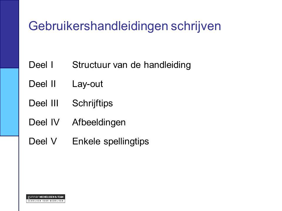 Deel IStructuur van de handleiding Deel IILay-out Deel IIISchrijftips Deel IVAfbeeldingen Deel VEnkele spellingtips Gebruikershandleidingen schrijven