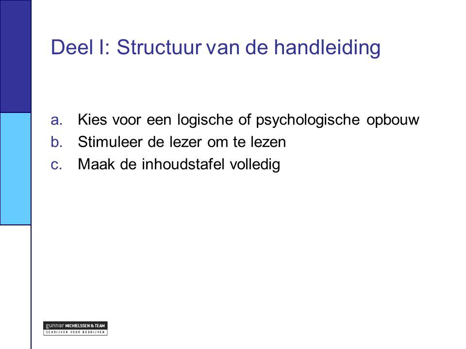 Deel I: Structuur van de handleiding a.Kies voor een logische of psychologische opbouw b.Stimuleer de lezer om te lezen c.Maak de inhoudstafel volledi