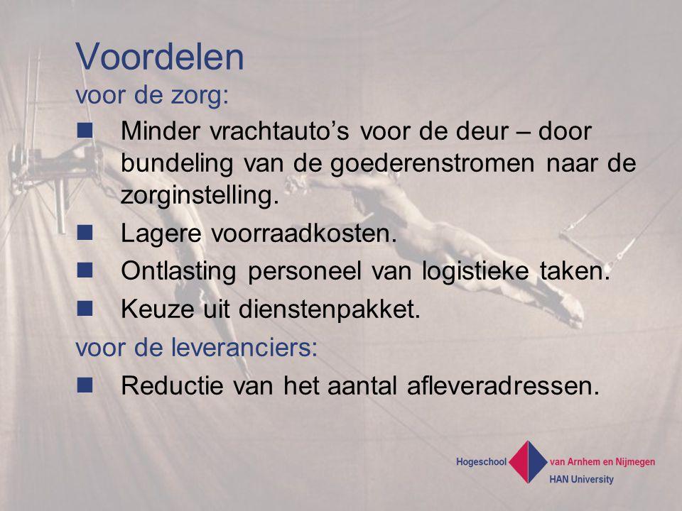 Voordelen voor de zorg: Minder vrachtauto's voor de deur – door bundeling van de goederenstromen naar de zorginstelling.