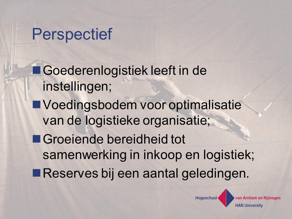 Perspectief Goederenlogistiek leeft in de instellingen; Voedingsbodem voor optimalisatie van de logistieke organisatie; Groeiende bereidheid tot samenwerking in inkoop en logistiek; Reserves bij een aantal geledingen.
