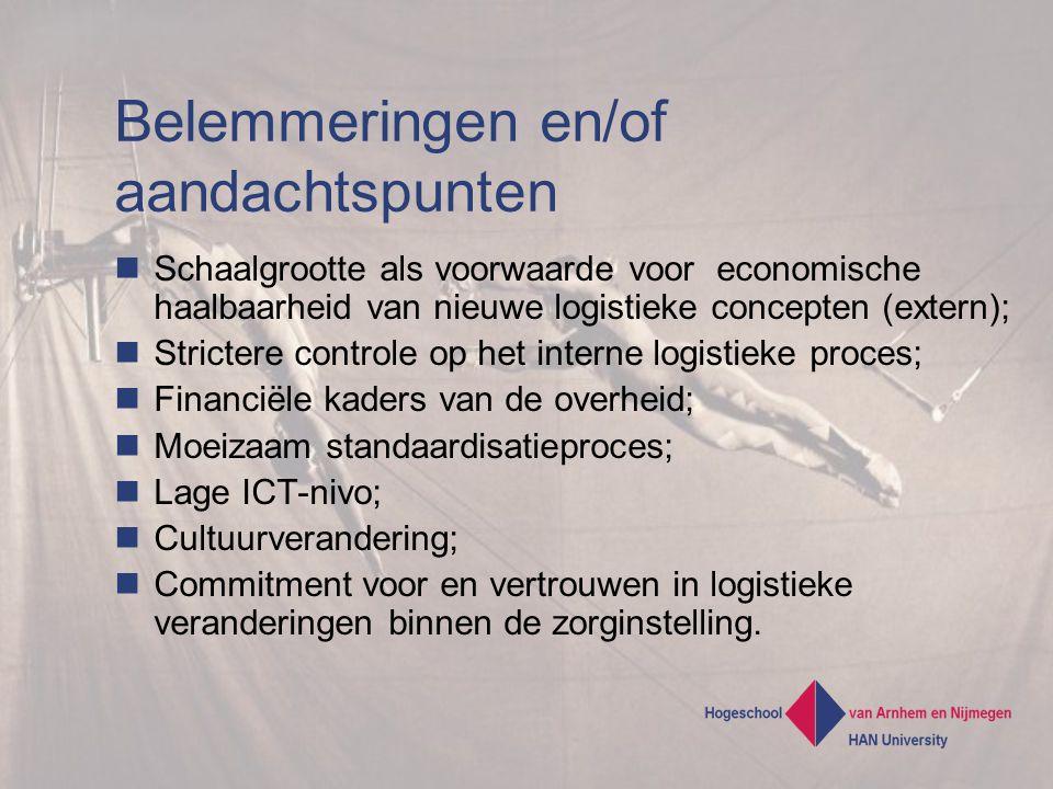 Belemmeringen en/of aandachtspunten Schaalgrootte als voorwaarde voor economische haalbaarheid van nieuwe logistieke concepten (extern); Strictere controle op het interne logistieke proces; Financiële kaders van de overheid; Moeizaam standaardisatieproces; Lage ICT-nivo; Cultuurverandering; Commitment voor en vertrouwen in logistieke veranderingen binnen de zorginstelling.