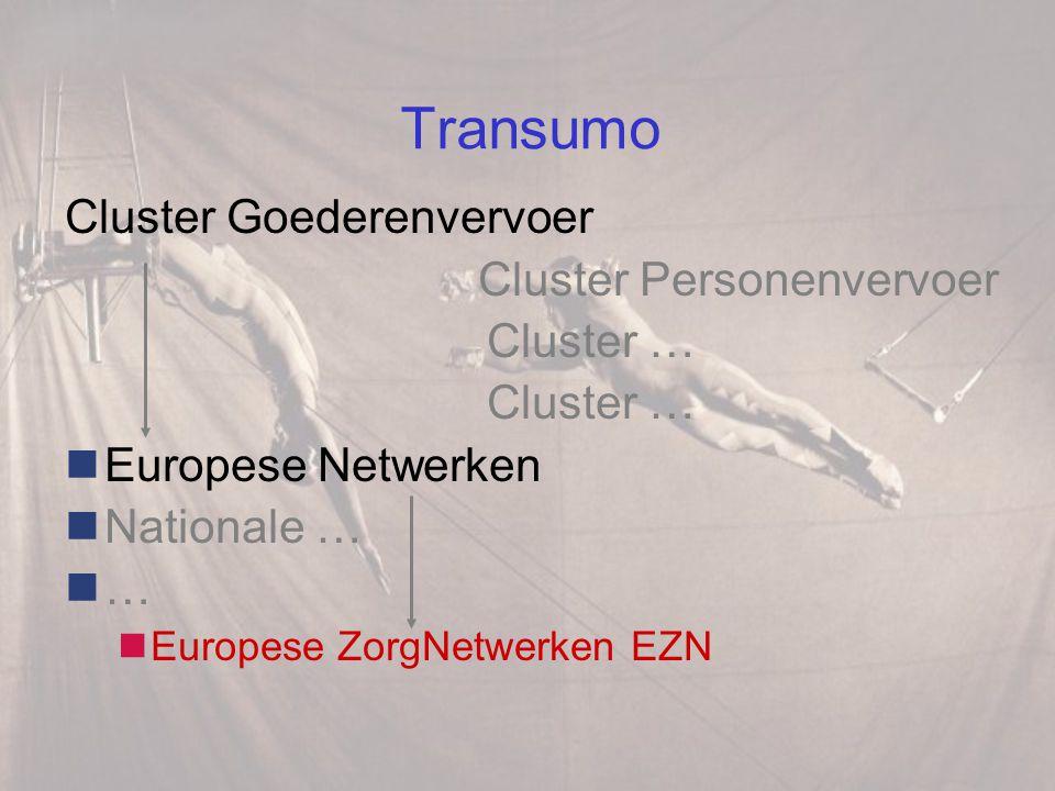 Transumo Cluster Goederenvervoer Cluster Personenvervoer Cluster … Europese Netwerken Nationale … … Europese ZorgNetwerken EZN