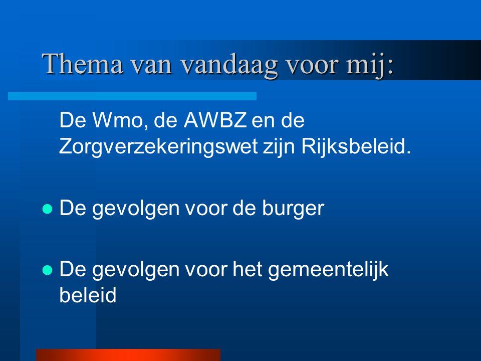 Thema van vandaag voor mij: De Wmo, de AWBZ en de Zorgverzekeringswet zijn Rijksbeleid. De gevolgen voor de burger De gevolgen voor het gemeentelijk b