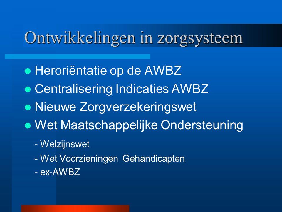 Ontwikkelingen in zorgsysteem Heroriëntatie op de AWBZ Centralisering Indicaties AWBZ Nieuwe Zorgverzekeringswet Wet Maatschappelijke Ondersteuning -