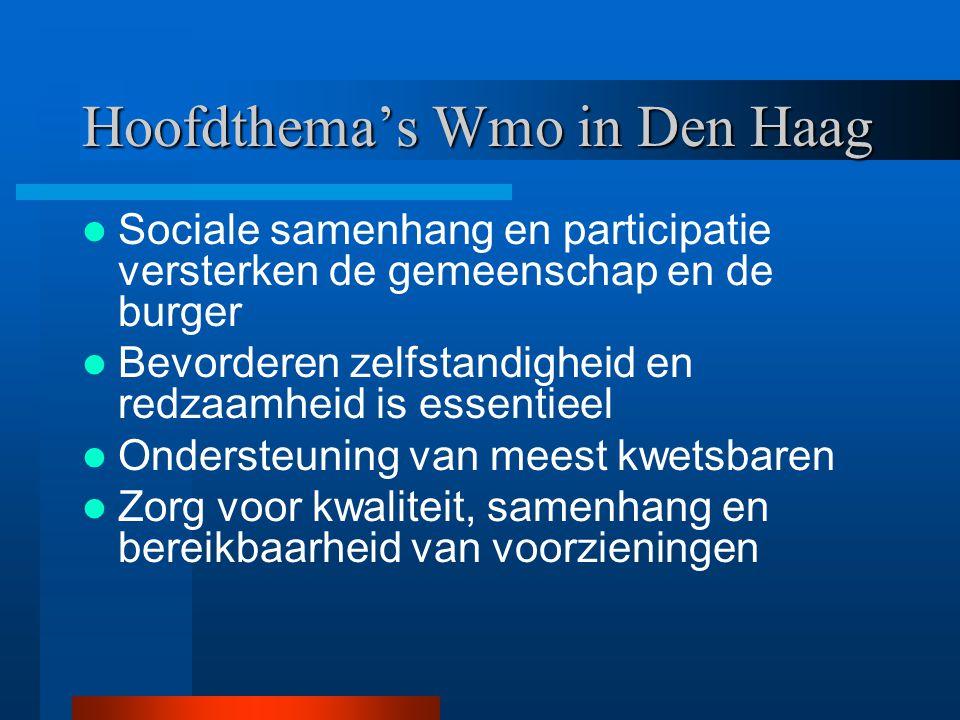 Hoofdthema's Wmo in Den Haag Sociale samenhang en participatie versterken de gemeenschap en de burger Bevorderen zelfstandigheid en redzaamheid is ess