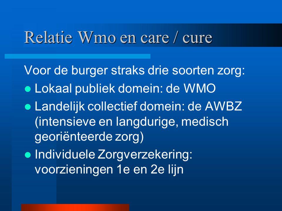 Relatie Wmo en care / cure Voor de burger straks drie soorten zorg: Lokaal publiek domein: de WMO Landelijk collectief domein: de AWBZ (intensieve en