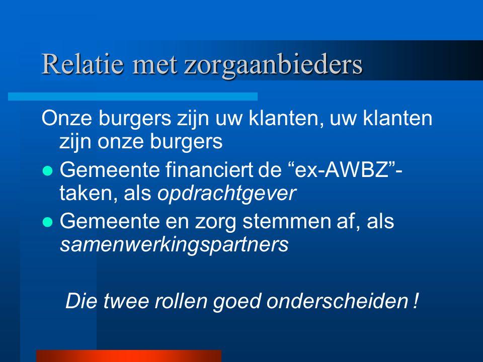 """Relatie met zorgaanbieders Onze burgers zijn uw klanten, uw klanten zijn onze burgers Gemeente financiert de """"ex-AWBZ""""- taken, als opdrachtgever Gemee"""