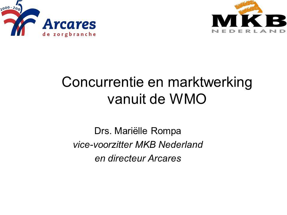Concurrentie en marktwerking vanuit de WMO Drs. Mariëlle Rompa vice-voorzitter MKB Nederland en directeur Arcares