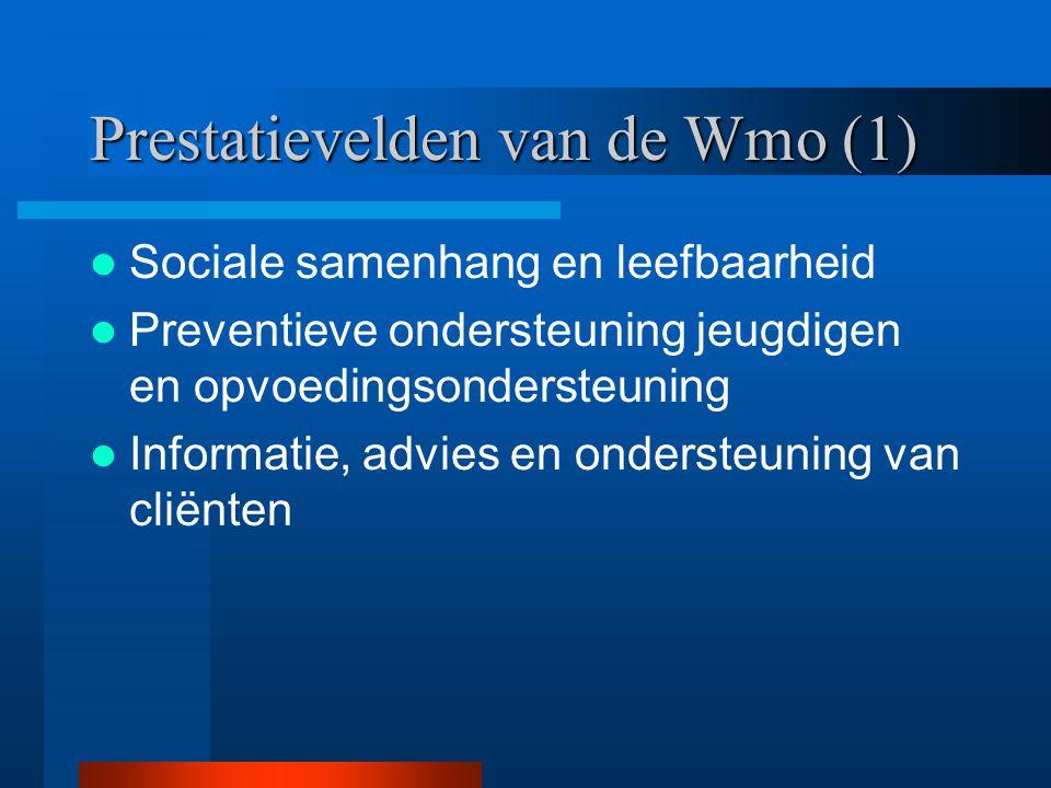 Prestatievelden van de Wmo (1) Sociale samenhang en leefbaarheid Preventieve ondersteuning jeugdigen en opvoedingsondersteuning Informatie, advies en