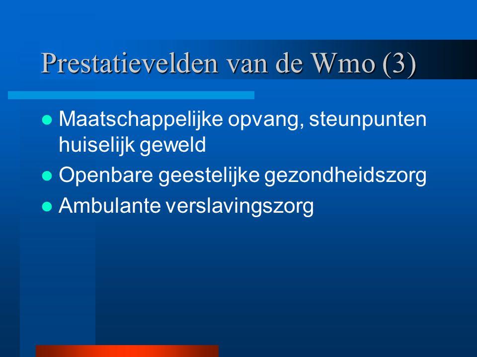Prestatievelden van de Wmo (3) Maatschappelijke opvang, steunpunten huiselijk geweld Openbare geestelijke gezondheidszorg Ambulante verslavingszorg