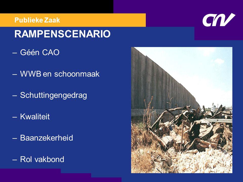 Publieke Zaak RAMPENSCENARIO –Géén CAO –WWB en schoonmaak –Schuttingengedrag –Kwaliteit –Baanzekerheid –Rol vakbond