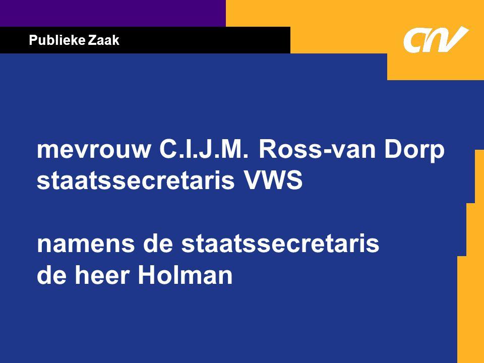 Publieke Zaak mevrouw C.I.J.M. Ross-van Dorp staatssecretaris VWS namens de staatssecretaris de heer Holman
