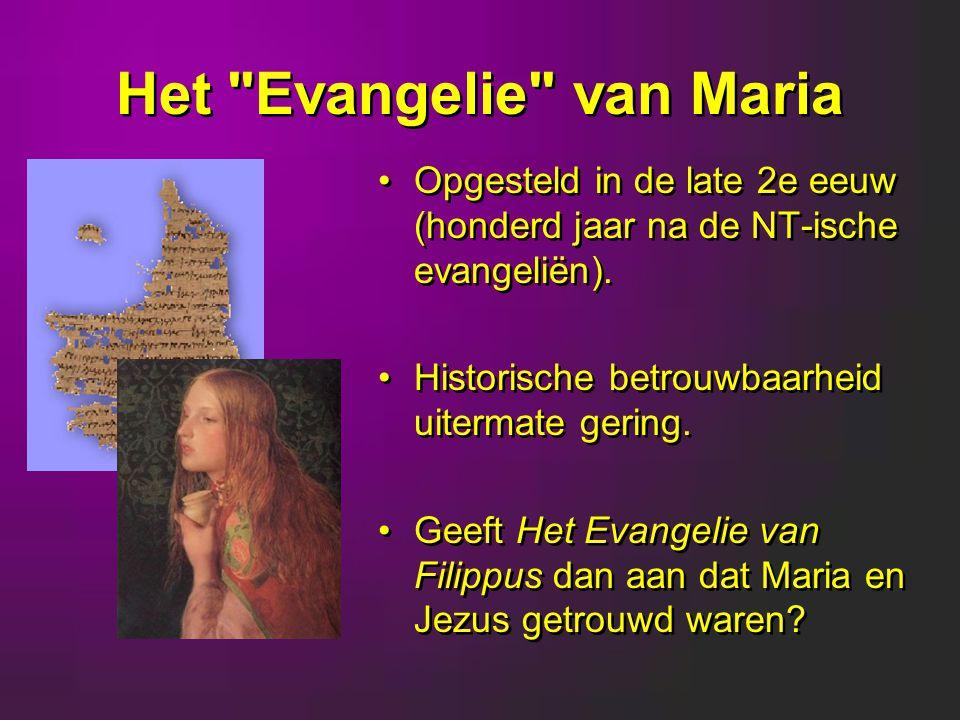Het Evangelie van Maria Opgesteld in de late 2e eeuw (honderd jaar na de NT-ische evangeliën).