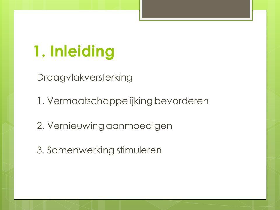 1. Inleiding Draagvlakversterking 1. Vermaatschappelijking bevorderen 2. Vernieuwing aanmoedigen 3. Samenwerking stimuleren