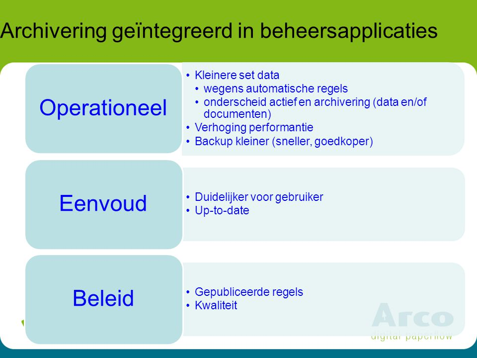15 Archivering geïntegreerd in beheersapplicaties Kleinere set data wegens automatische regels onderscheid actief en archivering (data en/of documente