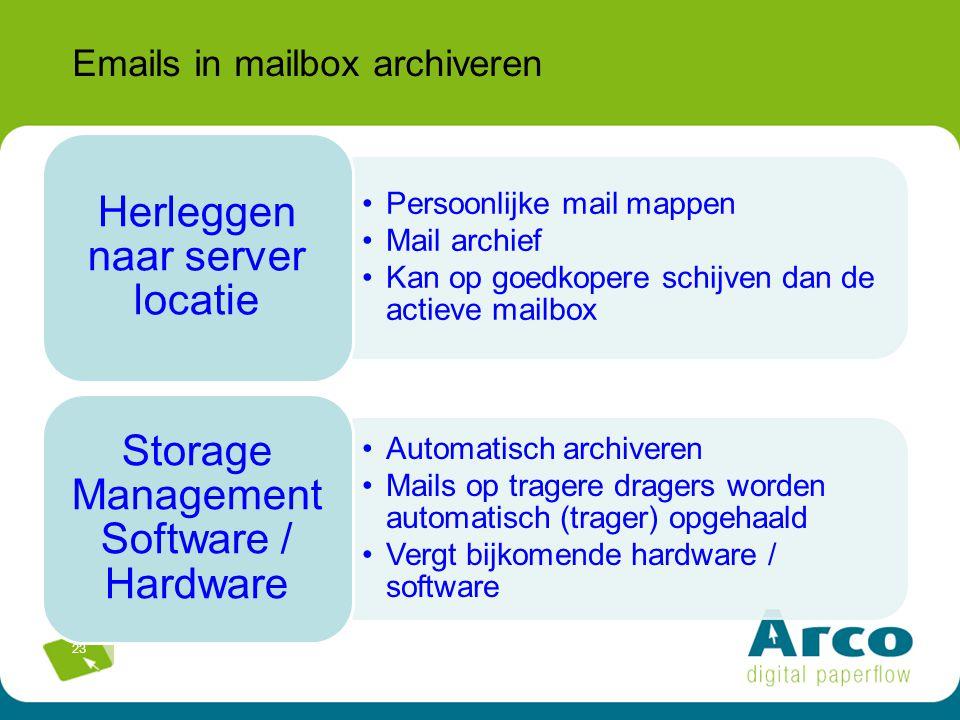 23 Emails in mailbox archiveren Persoonlijke mail mappen Mail archief Kan op goedkopere schijven dan de actieve mailbox Herleggen naar server locatie Automatisch archiveren Mails op tragere dragers worden automatisch (trager) opgehaald Vergt bijkomende hardware / software Storage Management Software / Hardware
