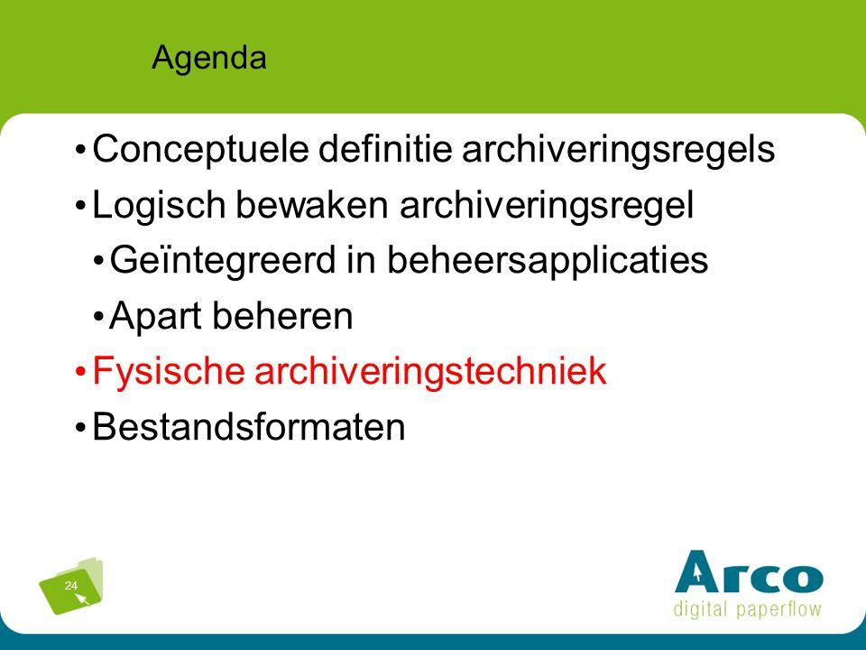 24 Agenda Conceptuele definitie archiveringsregels Logisch bewaken archiveringsregel Geïntegreerd in beheersapplicaties Apart beheren Fysische archiveringstechniek Bestandsformaten