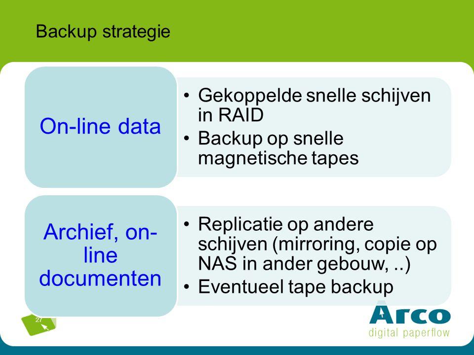 27 Backup strategie Gekoppelde snelle schijven in RAID Backup op snelle magnetische tapes On-line data Replicatie op andere schijven (mirroring, copie