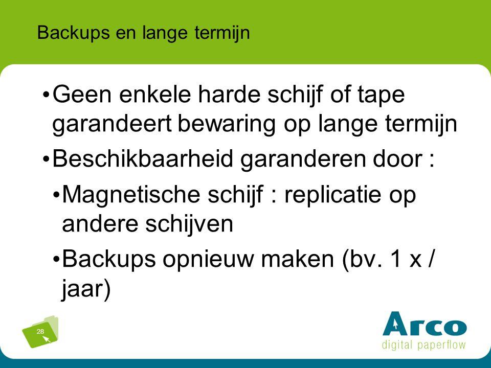 28 Backups en lange termijn Geen enkele harde schijf of tape garandeert bewaring op lange termijn Beschikbaarheid garanderen door : Magnetische schijf