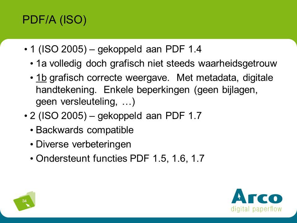 34 PDF/A (ISO) 1 (ISO 2005) – gekoppeld aan PDF 1.4 1a volledig doch grafisch niet steeds waarheidsgetrouw 1b grafisch correcte weergave. Met metadata