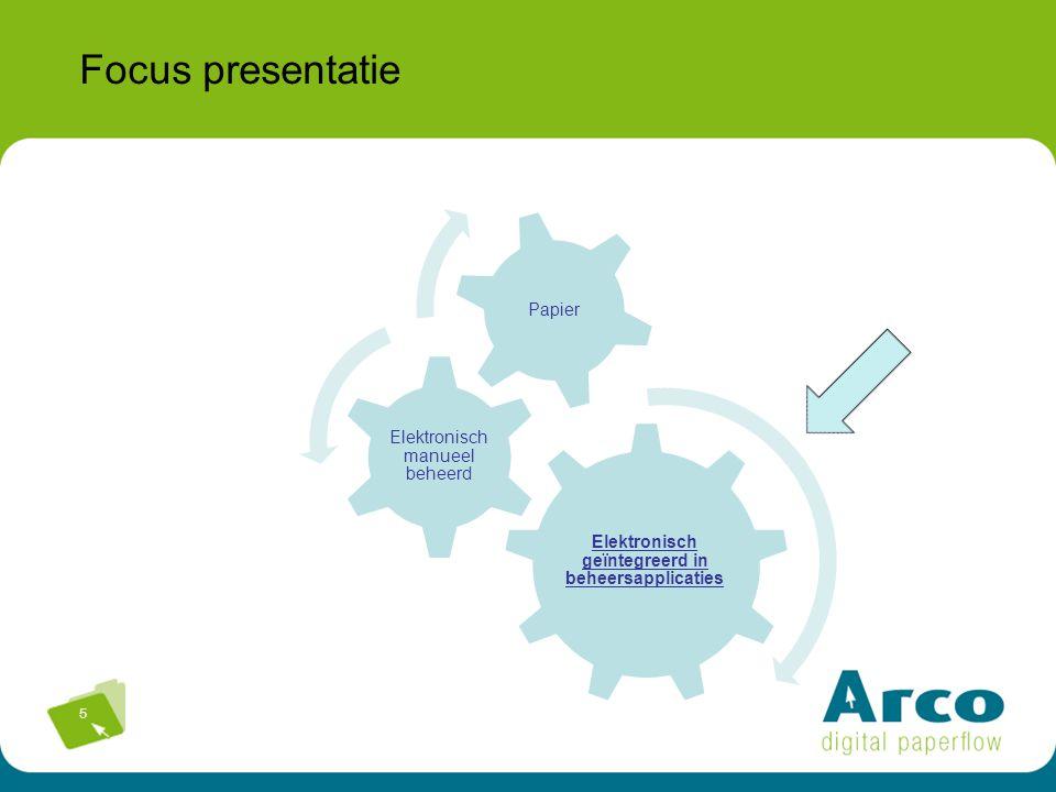 5 Focus presentatie Elektronisch geïntegreerd in beheersapplicaties Elektronisch manueel beheerd Papier