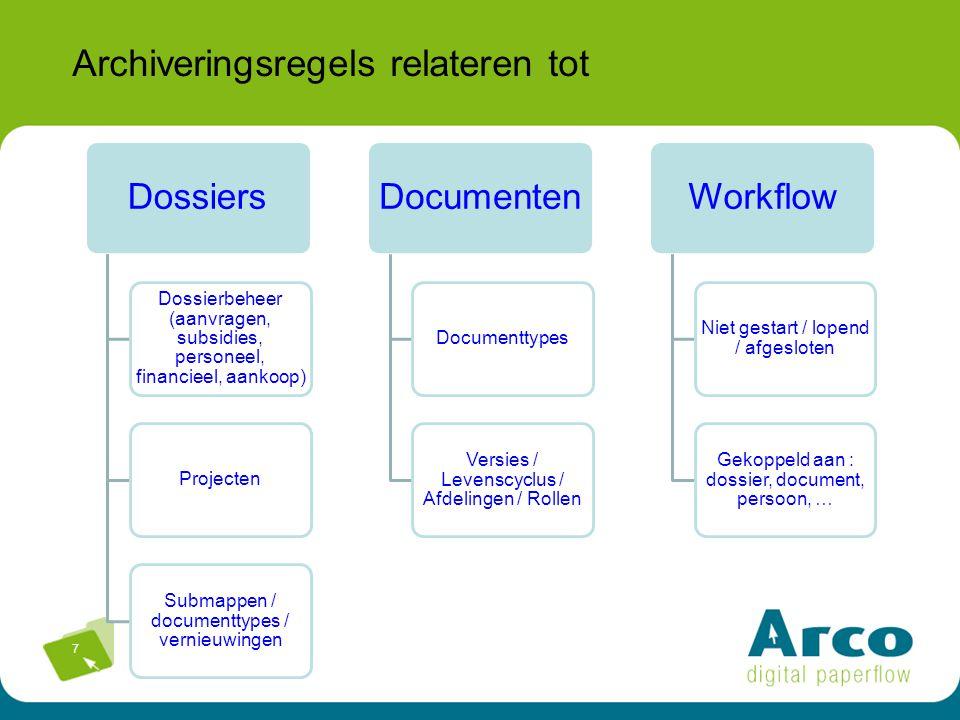 7 Archiveringsregels relateren tot Dossiers Dossierbeheer (aanvragen, subsidies, personeel, financieel, aankoop) Projecten Submappen / documenttypes /