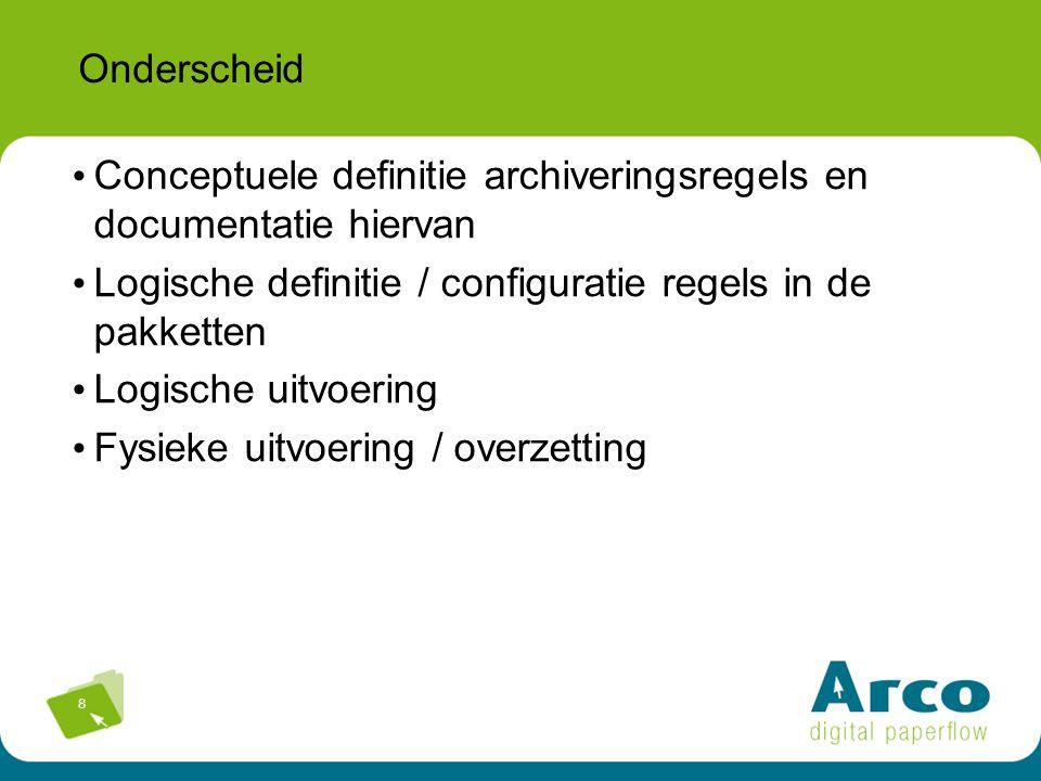 8 Onderscheid Conceptuele definitie archiveringsregels en documentatie hiervan Logische definitie / configuratie regels in de pakketten Logische uitvoering Fysieke uitvoering / overzetting