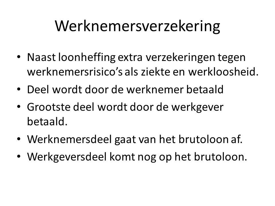 Werknemersverzekering Naast loonheffing extra verzekeringen tegen werknemersrisico's als ziekte en werkloosheid.