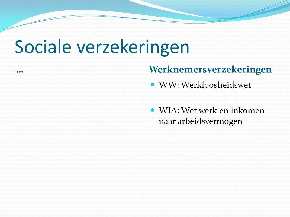 Sociale verzekeringen … Werknemersverzekeringen WW: Werkloosheidswet WIA: Wet werk en inkomen naar arbeidsvermogen