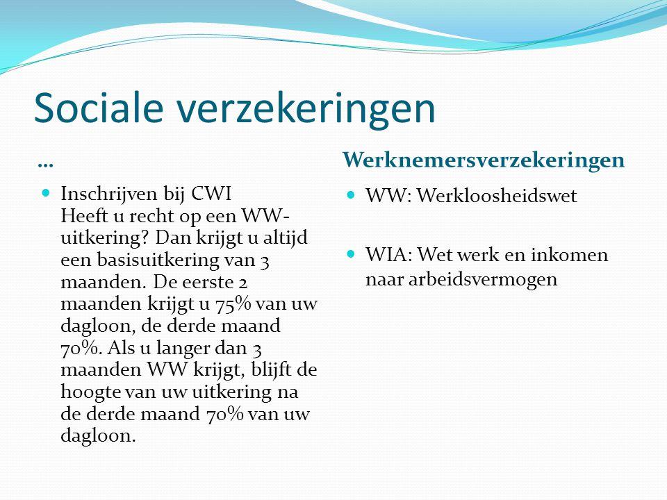 Sociale verzekeringen … Werknemersverzekeringen Inschrijven bij CWI Heeft u recht op een WW- uitkering? Dan krijgt u altijd een basisuitkering van 3 m