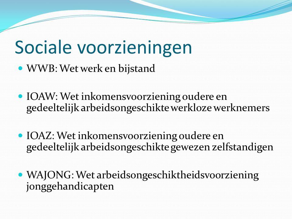 Sociale voorzieningen WWB: Wet werk en bijstand IOAW: Wet inkomensvoorziening oudere en gedeeltelijk arbeidsongeschikte werkloze werknemers IOAZ: Wet
