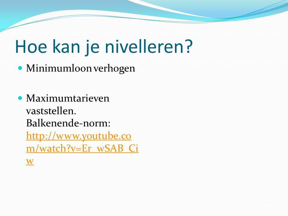 Hoe kan je nivelleren? Minimumloon verhogen Maximumtarieven vaststellen. Balkenende-norm: http://www.youtube.co m/watch?v=Er_wSAB_Ci w http://www.yout