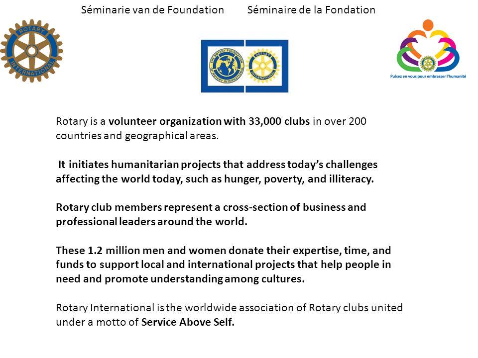 Séminarie van de Foundation Séminaire de la Fondation Ambassadorial Scholarships, The Rotary Foundation s oldest and best- known program, was founded in 1947.