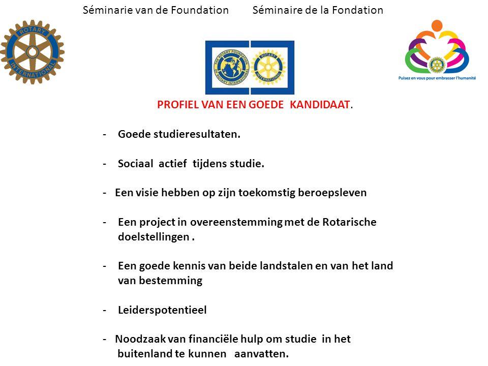 Séminarie van de Foundation Séminaire de la Fondation PROFIEL VAN EEN GOEDE KANDIDAAT.