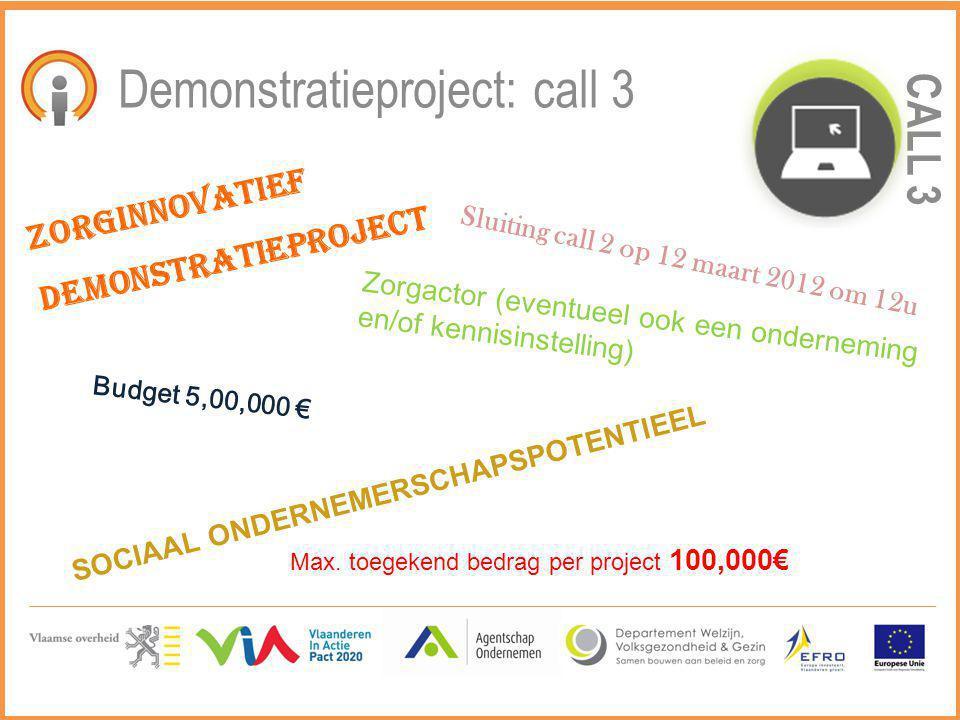 CALL 3 Demonstratieproject: call 3 Zorginnovatief demonstratieproject Zorgactor (eventueel ook een onderneming en/of kennisinstelling) SOCIAAL ONDERNE