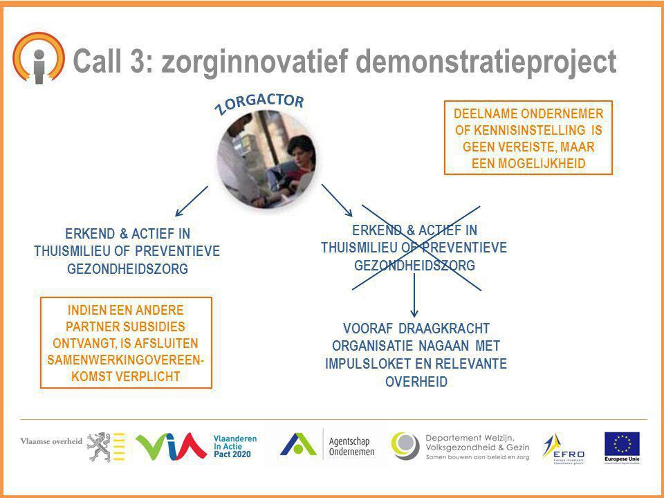 Call 3: zorginnovatief demonstratieproject ERKEND & ACTIEF IN THUISMILIEU OF PREVENTIEVE GEZONDHEIDSZORG DEELNAME ONDERNEMER OF KENNISINSTELLING IS GE