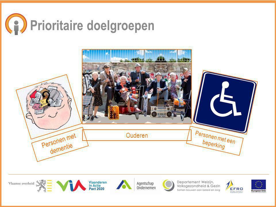 Prioritaire doelgroepen Personen met dementie Ouderen Personen met een beperking