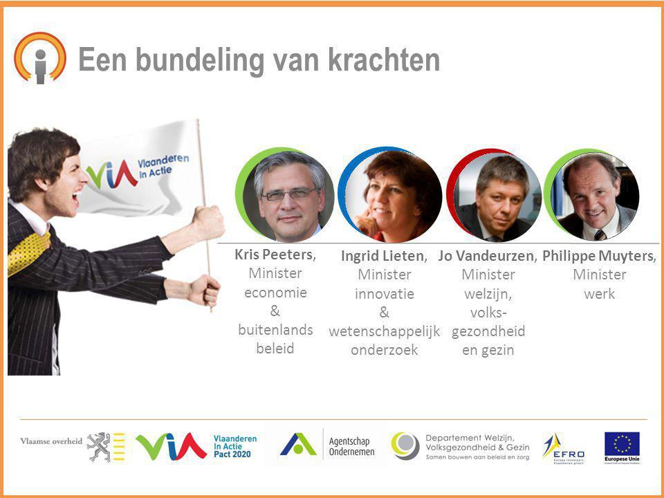 Een bundeling van krachten Kris Peeters, Minister economie & buitenlands beleid Ingrid Lieten, Minister innovatie & wetenschappelijk onderzoek Jo Vand