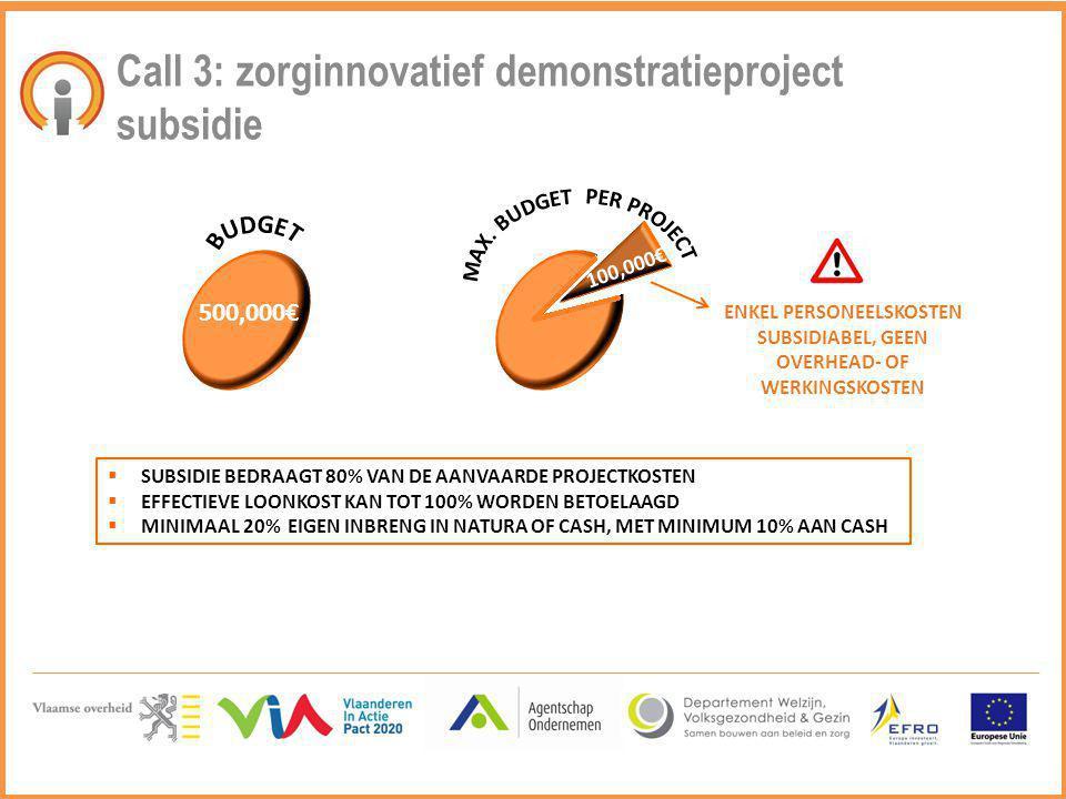 Call 3: zorginnovatief demonstratieproject subsidie  SUBSIDIE BEDRAAGT 80% VAN DE AANVAARDE PROJECTKOSTEN  EFFECTIEVE LOONKOST KAN TOT 100% WORDEN B